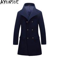 ingrosso cappotti di lana coreani di mens-AY7UNSUE cappotto di lana invernale uomo coreano giacca uomo plus size cappotto per uomo a doppio petto mens cappotti casaco masculino kj259