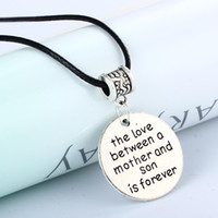 Wholesale ch wholesale - Wholesale- Vintage Hand Stamped Love Between Mother Son Silver Pendant Necklace Mom Mother's Day Women Gift Jewelry Leather PU Chain Ch