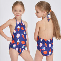 Wholesale Cream Spa - Children swimwear girls ice cream printed swimsuits 2018 summer new kids lace-up Bows backless one pices girls spa beach swimming R2645
