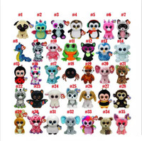 Wholesale ty soft toy big eyes - 35 Design Ty Beanie Boos Plush Stuffed Toys 15cm Wholesale Big Eyes Animals Soft Dolls for Kids Birthday Gifts ty toys