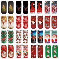 calcetines de venado al por mayor-Nuevos 32 estilos impresión 3D calcetines de Navidad niños adultos calcetines de Navidad Papá Noel de la nieve ciervos ciervos unisex calcetines C2522-1