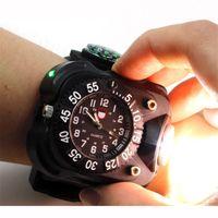 relógios brilhantes venda por atacado-Novo 3 em 1 brilhante luz do relógio lanterna com bússola esportes ao ar livre dos homens moda À prova d 'água LED recarregável relógio de pulso da lâmpada tocha