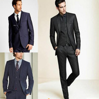 Wholesale black pinstripe dress pants - 2018 New Formal Tuxedos Suits Men Wedding Suit Slim Fit Business Groom Suit Set S-4 XL Dress Suits Tuxedo For Men (Jacket+Pants)