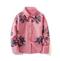 bluzlar korece çocuklar toptan satış-Bahar 2018 Çocuk Giyim Kore Uzun Kollu Çiçek Boys Gömlek Beyaz Tops Okul Bluz Çocuklar Gençler Için Giysi 10 Yıl