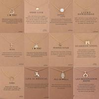 perlenkreuz anhänger großhandel-12 Arten Dogeared Halsband Einhorn Halsketten mit Karte Gold Kreis Elefant Perle Liebe Flügel Kreuz Anhänger Halskette für Frauen