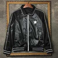 baseballjacke lederhülsenfrauen großhandel-Männer Leder bestickt Pentagram Jacke Marke Tags Männer und Frauen Zauber Ärmel Baseball Anzug Jacke