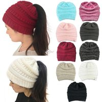 Wholesale logo knit caps - 10 Colors CC Ponytail Hats Soft Stretch Cable Knit Messy Ponytail Beanie Hat Knitted Crochet Skull Beanies Without CC Logo CCA8818 20pcs