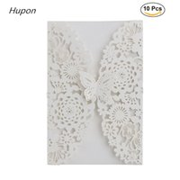 Wholesale butterfly envelopes - 10pcs Elegant Wedding Invitation Card Kits Laser Cut Butterfly Greeting Cards Envelopes for Bridal Shower Birthday Party Decor