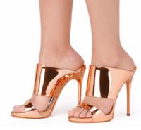 ню кожаные сандалии оптовых-Женщины Высокий Каблук Сандалии 2018 Металлик Розовое Золото Лакированная Кожа Мул Обнаженные Каблуки Румяна Летняя Обувь Женская Обувь Партии Плюс Размер