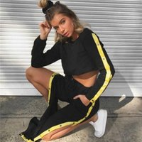 Wholesale xxl womens clothes - 2PCS Clothes Set Womens Hoodies Sports Crop Tops Decorative Button Top Sweatshirt+High Waist Track Pants Sweat Suits Tracksuit