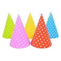 Wholesale holiday chocolate box - 10PCS Cute Dot Birthday Party Decoration Hats Baby Shower Birthday Cake Caps Party Photo Props Children Holiday Decor Supplies