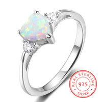 Wholesale opal engagement rings for women resale online - Classic Eternal Heart White Opal Rings for Women Real Pure Sterling Silver Jewelry Engagement Finger Rings