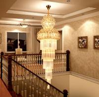 Wholesale modern lobby light - K9 Gold Crystal Chandelier Lustre Stair Chandelier Modern Led Chandeliers Lighting fixtures Hotel Villa Lobby Aisle Engineering LLFA