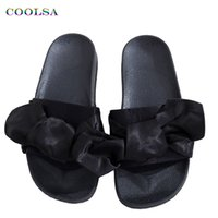 Wholesale Embossed Silk Fabric - COOLSA Fashion Silk Bow Slides Women Slippers Soft Fabric Cute Butterfly-knot Designer Flat Casual Sandals Ladies Beach shoes