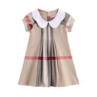 kleines mädchenkleid entwirft sommer großhandel-Sommer Baby Kleid Classic Plaid Baumwolle Kurzarm Mädchen Kleid Kinder Party Kleid Kinder Kleidung für 3-7T