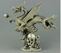bolas de dragão colecionáveis venda por atacado-Delicada chinesa colecionável tibetano prata Dragon Ball estátua