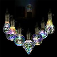 ingrosso fireworks ce-3D Stella Led E27 Colorful Fireworks Edison della lampadina A60 ST64 G80 G95 G125 della novità della lampada Retro luminose a incandescenza