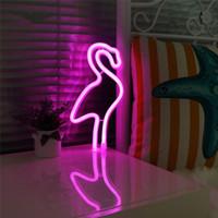 orange neonlichter großhandel-USB Batteriebetriebene Flamingo Neon Lampe Rosa Led Streifen Wandbehang Neon Lichter Schlafzimmer Dekoration Festzelt Leuchtreklamen