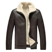 xs sahte deri ceket erkek toptan satış-Marka Sonbahar Kış Yüksek Kaliteli PU Faux Deri Ceket Erkekler Rahat Kalın Sıcak Kadife Erkek Ceketler Coat Motosiklet Ceket