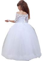 off beyaz kız elbiseleri toptan satış-Beyaz Çiçek Kız Elbise Kapalı Omuz Balo İlk Communion Elbise Resmi Elbise