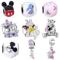 Wholesale Teapot Necklaces - free shipping MOQ 20pcs silver mickey teapot mouse diy loose bead jewelry marking charm fit pandora european style bracelet necklace EL018