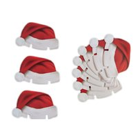 Wholesale Noel Christmas Ornament - 10 pcs Christmas Decorations For Home Red Hats Champagne Glass Decor Paperboard Noel Decoration Navidad New Year Supplies