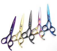 tesouras da polegada do barbeiro venda por atacado-Faca magia 6.0 polegada / 5.5 Polegada Profissional de Corte / Desbaste Tesoura Tesoura de Cabelo para Barbeiros Tesouras Direitas 4 cores
