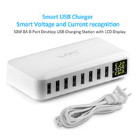 Wholesale Wall Charging Station - iLepo 8- Port USB Charger Charging Station for Multiple Device with LED Display Desktop Wall Charger For Laptops Tablets Phones
