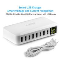 планшетные устройства samsung оптовых-iLepo 8-портовый USB зарядное устройство зарядная станция для нескольких устройств со светодиодным дисплеем настенное зарядное устройство для ноутбуков таблетки телефоны