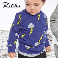 Wholesale Toddler Striped Shirt - Richu boy sweatshirt kids t shirt hoodies for kids toddler baby sweatshirts child christmas products children clothing tops