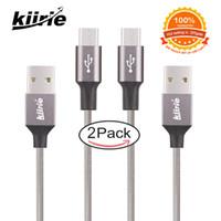 mikro usb kablo paketi toptan satış-En kaliteli Mikro USB kablosu Kiirie Dayanıklı Şarj Kabloları 2 Paket 0.5 m 1.5 m Naylon Örgülü 6000 + Viraj Ömrü yüksek hızlı usb kablosu perakende