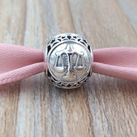 Wholesale libra bracelet - Libra Star Sign Charm 925 Sterling Silver Beads Fits European Pandora Style Jewelry Bracelets & Necklace 791942 The Signs of the Zodiac