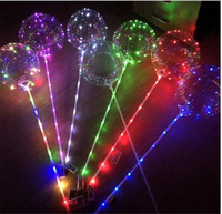 Wholesale transparent latex balloon - Luminous BoBo Balloon 3M LED Light Up String 18inch Transparent Wave Balloons With 80cm Stick Pole for Wedding Party Holiday Decorations Hot