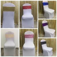 faixa cinza para cadeiras de casamento venda por atacado-Glittering Sequins Elastic Chair Sash Back Decorate Hotel Home Wedding Ceremony Party Supplies Banquet Flower Sleeve CCA10161 300pcs