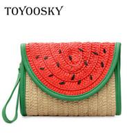 соломенные муфты оптовых-TOYOOSKY 2018 Fashion casual straw bag stitching watermelon pattern casual ladies clutch bag totes beach purse flap handbag