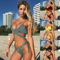Wholesale sexy yellow triangle bikini swimsuit - Sexy triangle push up women swimsuit bikini set 2017 summer Brazilian beach female swimwear swim sport wear bathing suit biquin