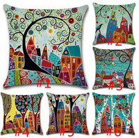 Wholesale Hand Painted Pillows - Pillowcase Vintage European Building Style Pattern Cushion Cover Abstract painting Decorative Retro hand-painted Pillow Cover Free Shipping