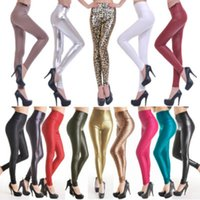 pantalones elásticos de piel sintética de talla grande al por mayor-Sexy Mujeres Flaco de Cuero de Imitación Estiramiento de Cintura Alta Leggings Pantalones Medias 18 Colores 4 Tamaño Más el Tamaño de Ropa de Mujer XS-L