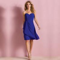 vestido drapeado corto azul real al por mayor-Simple Royal Blue Drapeado gasa sin respaldo A-Line Short Girls Vestidos de dama de honor Lindo vestido de fiesta de graduación