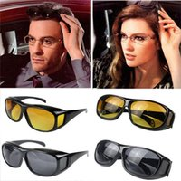 Wholesale Hd Vision Night Driving Glasses - HD Night Vision Driving Sunglasses Yellow Lens Over Wrap Glasses Dark Driving Protective Goggles Anti Glare Outdoor Eyewear P0056