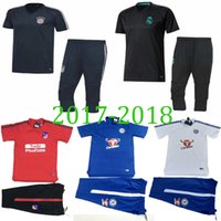 Wholesale Real Madrid Club - 2018 new Real Madrid hot club Shorts Sleeve 3 4 Training Suits Men sets Tracksuit Soccer Jersey RONALDO Survetement Sets Football Shirts