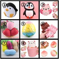 Wholesale peanut charms - Squishy Penguin Owl Strawberry Rainbow Chocolate Peanut Cup Cat Peach Jumbo Slow Rising Bread Cake Kawaii Phone Pendant Key Chain Toy Gift