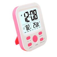 alarme de data venda por atacado-Grande Display LCD Digital Despertador Bateria Operado Com o Tempo de Temperatura Temperatura Da Umidade Semana 12 / 24h Snooze Função de Exibição