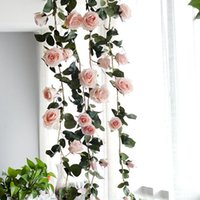 Wholesale hanging wreath for wedding resale online - Artificial Rattan flowers Fake Silk Rose Ivy Hanging Vine Garland for fall Home Wedding decoration Party festival Wreaths cm