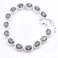 Wholesale Mystic Topaz Sets - 5Pcs Luckyshine Classic Amazing Fire Oval Rainbow Mystic Topaz Cubic Zirconia Gemstone Silver Chain Bracelets Bangles Holiday Wedding Party