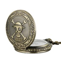 Wholesale pirate watches online - classic Pirate watch vintage pocket watch necklace Men Women antique Bronze watch PW055