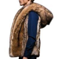 chalecos esponjosos al por mayor-2018 de lujo de invierno chaleco de piel de zorro caliente para hombre sin mangas chaquetas más tamaño abrigo con capucha mullida chaqueta de piel sintética Chalecos De Hombre 3XL