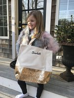 Wholesale women beach open cloth resale online - 50pcs New PU sequin patchwork Canvas Cloth Big Open Beach Totes with Small Cosmetic Bag Women Fashion designer bags Outdoor colors