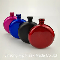 Wholesale Red Flasks - New style stainless steel 5oz Round Flask color black  Red Hot pink Blue  sliver,Mixed color available