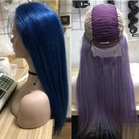 ingrosso lunghe parrucche colorate-Parrucche lunghe variopinte dei capelli umani 13x4 Parrucche frontali del pizzo pre-pizzicate con i capelli del bambino 130% parrucche diritte remy diritte di densità peruviana per le donne nere